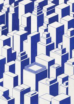Blue Lines  Série à l'encre bleue sur papier.  2014-2015.