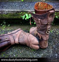 Ninja Boots Leather Burning Man Festival Ozora Brass Pirate Goa Secret Pocket Split toe High Top Tabi