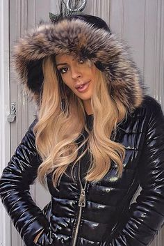 Keep warm this winter in this Soph Black Wet Look Coat Jacket. Featuring wet look fabric, puffer detailing and a fur hood - what's not to love! Puffer Coat With Fur, Women's Puffer Coats, Puffer Jackets, Fur Jackets, Coats For Women, Jackets For Women, Cute Jumpers, Wet Look, Rain Wear