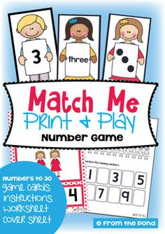 Match Me! Printable Math Game + Bonus Display Cards & Worksheet