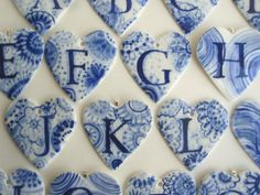 F - Personalized - Monogram - Hand painted porcelain  Heart -  Blue and white Dutch Delftware mother's day - wall hanging