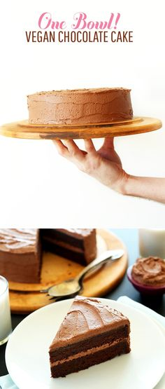 ONE BOWL 2 Layer Vegan Chocolate Cake! Moist, rich and delicious  + so easy…