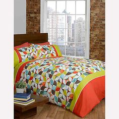 Colourful Retro Leaves Duvet Cover in Orange Yellow Green & Red