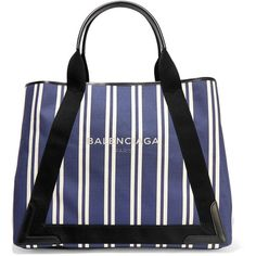 Balenciaga Cabas leather-trimmed striped canvas tote ($1,185) ❤ liked on Polyvore featuring bags, handbags, tote bags, navy, initial tote bags, tote purses, handbags totes, navy tote bag and navy tote