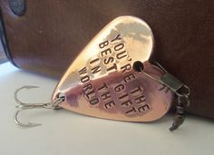 Personalized for Men Handstamped Gift Fishing for Him Husband Wife Boyfriend Mens Gifts 7th Wedding Anniversary Copper Cool Gifts for Dudes