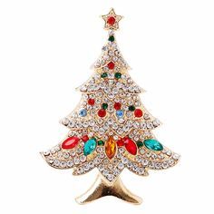Vintage Multi-Colored Christmas Tree Rhinestone Brooch Pin with Party  Jewelry c45cd2ca7dc7