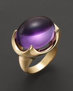 Bloomingdale's Large Amethyst Cabochon Ring in 14 Kt. Yellow Gold