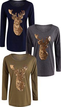 $13.07 Active Christmas Reindeer Sequins T-Shirt