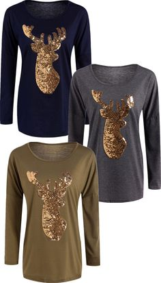 $13.07 Active Christmas Reindeer Sequins T-Shirt