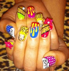 Find images and videos about nails, nail art and colourful on We Heart It - the app to get lost in what you love. Crazy Nail Art, Crazy Nails, Cool Nail Art, Nails Only, Get Nails, Hair And Nails, Crazy Nail Designs, Nail Polish Designs, Nail Ink