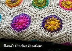 "Ravelry: Nana's ""Rainbow Hexagon Blanket"" pattern by Des Maunz"