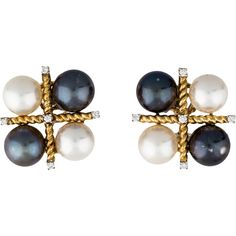 Verdura Pearl Cluster and Diamond Clip-On Earrings ($4,750) ❤ liked on Polyvore featuring jewelry, earrings, gray earrings, grey earrings, diamond clip on earrings, round diamond earrings and grey diamond earrings