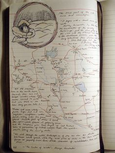A rich #journal entry featuring a hand-drawn map, an illustration, and writing.
