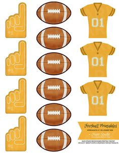 Gold Super Bowl / Football Party Printables - Perfect for Baltimore Ravens or San Francisco 49ers Fans! Attach them to a toothpick or lollipop stick and decorate your party trays with them! $3.50 Football Banquet, Blue Football, Football Tailgate, Football Birthday, Youth Football, Football Season, Tailgating, Sports Birthday, Baseball Party