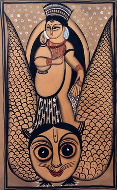 Lakshmi with Her Vahana - The Owl (Kalighat Painting - Water Color on Paper - Unframed)