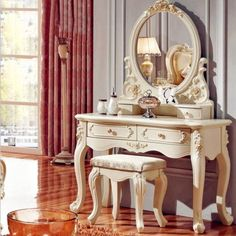Luxury High End Gorgeous French Style Solid Carved Wood Intricately Detailed Vanity Set - 4 Designs