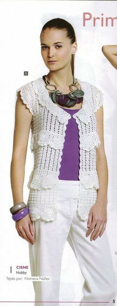 Crochetemoda: Colete Branco de Crochet