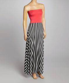Loving this Necessary Objects Coral & Black Strapless Maxi Dress on #zulily! #zulilyfinds