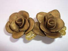 Gold Rose Hair Clip by Lucky8989 on Etsy, $5.00