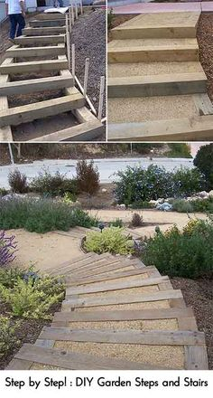 DIY Garden Steps Stairs Lots Of Ideas, Tips Tutorials! Including, From 2  Minute Gardener, This Great Tutorial On Making Landscape Timber Stairs.