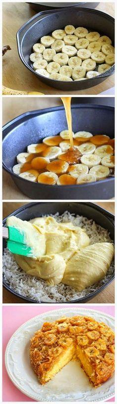 Banana Coconut Upside Down Cake