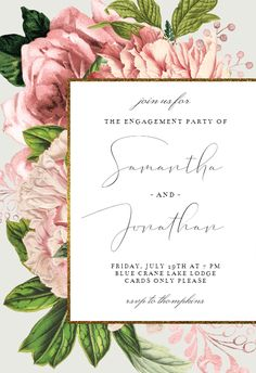 Pink Bouquets - Engagement Party Invitation #invitations #printable #diy #template #Engagement #party #wedding Free Wedding Invitations, Anniversary Invitations, Engagement Party Invitations, Funeral Cards, Memorial Cards, Flower Phone Wallpaper, Pink Bouquet, Save The Date Cards, Wedding Bouquets