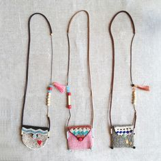 long necklace pouch, (mini collection of tree necklace featuring a pouch to treasure findings of significant belongings)