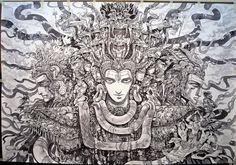 Trimurti- an incarnation(roopa) of Lord Shiva depicting the exquisite balance between the three forces of life creation, preservation and destruction. ink on paper. 4ft x 6ft