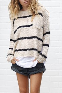 92de2ceaace0da The most gorgeous black and white striped off-the-shoulder sweater ...