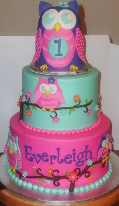 Owl Blossom First Birthday - Iced in buttercream with fondant accents.