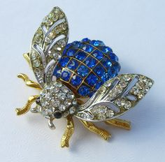 Vintage Demario Bumblebee Rhinestone Brooch Pin Estate Jewelry by BuyVintageJewelry on Etsy