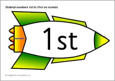 The ordinal numbers from up to presented on rockets. Ideal for use in number displays or on your classroom calendar. Ordinal Numbers, Classroom Calendar, Ordering Numbers, Number Words, Number Recognition, Rockets, The Twenties, Letters, My Love