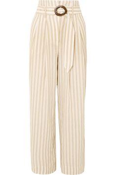 NANUSHKA Nevada striped cotton and linen-blend wide-leg pants