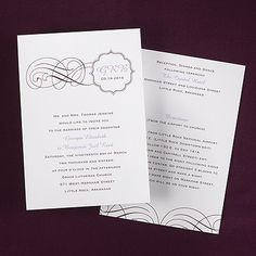 Swirls with Crest ValStyle - #Invitation - White weddingneeds.carlsoncraft.com