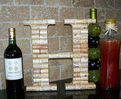 "12"" Stand Alone Wine Cork Letter Initial Monogram H Handmade Home Wedding Prop | eBay"