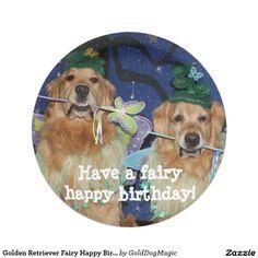 Golden Retriever Fairy Happy Birthday 7 Inch Paper Plate