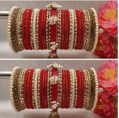 1 set of Bridal Chura. Silver Bangle Bracelets, Bangle Set, Wedding Chura, Party Wedding, Cheap Wedding Rings, Wedding Jewelry, Bridal Chuda, Bridal Bangles, Gold Rhinestone