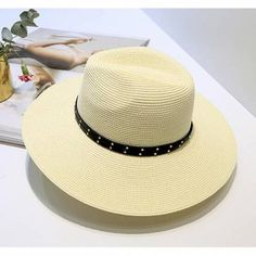 a3540b77843 Wide brim panama hat with studs womens summer beach straw hats for sun  protection