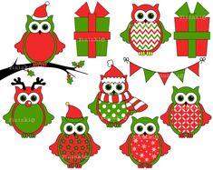 Christmas Owl Clipart Christmas Clipart Digital by Pininkie, $4.00