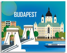 Budapest, Hungary wall art is available in an array of finishes, materials, and sizes, this retro inspired wall art will make Budapest feel close to your heart with its bright color palette and unique