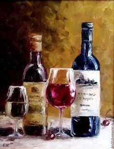 Купить Картина маслом Золотой натюрморт, вино - картина, масло, натюрморт, бутылки, напитки, интерьер