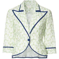Delpozo floral print blazer (6.690 BRL) ❤ liked on Polyvore featuring outerwear, jackets, blazers, green, blazer jacket, flower print blazer, white blazer jacket, white cotton blazer and white cotton jacket