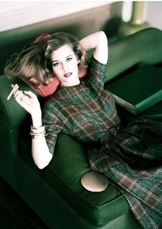 Jane Fonda … Horst P.Horst … Condé Nast Archive … 1959 … Model Jane Fonda with cigarette wearing plaid wool dress in brown and muted gray, cinched at the waist with brown suede belt … Vintage Vogue, Moda Vintage, Vintage Hollywood, Vintage Dior, Hollywood Star, Dress Vintage, Jane Fonda, Bridget Fonda, Henry Fonda