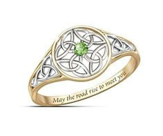 Celtic knot scrollwork in solid sterling silver and gold plating, green peridot, engraved Irish blessing. Gift box with Irish Blessing poem card. Jewelry Tags, Bridal Jewelry, Jewlery, Jewellery Rings, Jewellery Shops, Jewelry Bracelets, Modern Jewelry, Vintage Jewelry, Fine Jewelry
