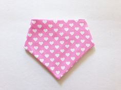 Pink/White Hearts Bandana Bib, Hearts, Baby/Toddler, Girls, Modern, Flannel, Bandana Bib, Drool Bibs, Bibdana, Dribble Bib, Reversible Bib