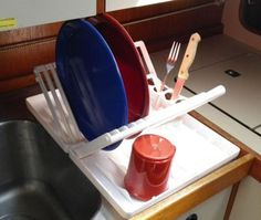 Simple Ways to Improve Your Boat's Galley: Fold-Up Dish Rack and Drainer