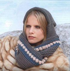 Спицами шарф капюшон с орнаментом фото к описанию