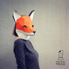 Papercraft fox mask printable DIY template par WastePaperHead