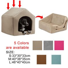 Pet Dog Cat House Igloo Bed Pentagon Windproof Warm Puppy Dog Cat Beds Kennels #PawzRoad