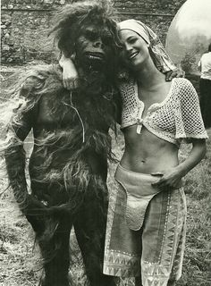 Charlotte Rampling on the set of Zardoz directed by John Boorman, 1974